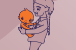 drawing of grandparent holding baby