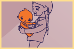 drawing of grandparent dancing with baby