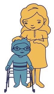 Pregnant mother standing next to child with walker