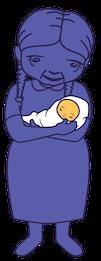 Animated grandma holding baby