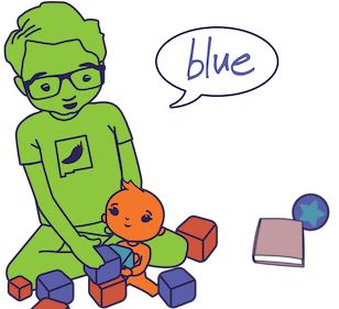 Animated father talking with baby with toys around.