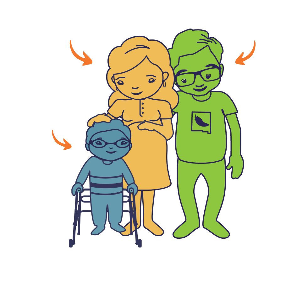 An illustration of two parents standing with a child using a mobility assistance device