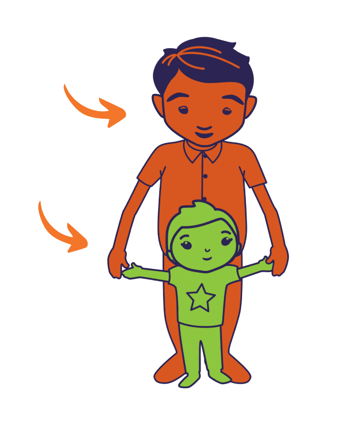 An illustrated father and toddler standing and holding hands